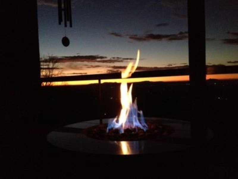 Snuggling at Night in Front of the Fire Pit; Seeing the last bit of sun for the day.