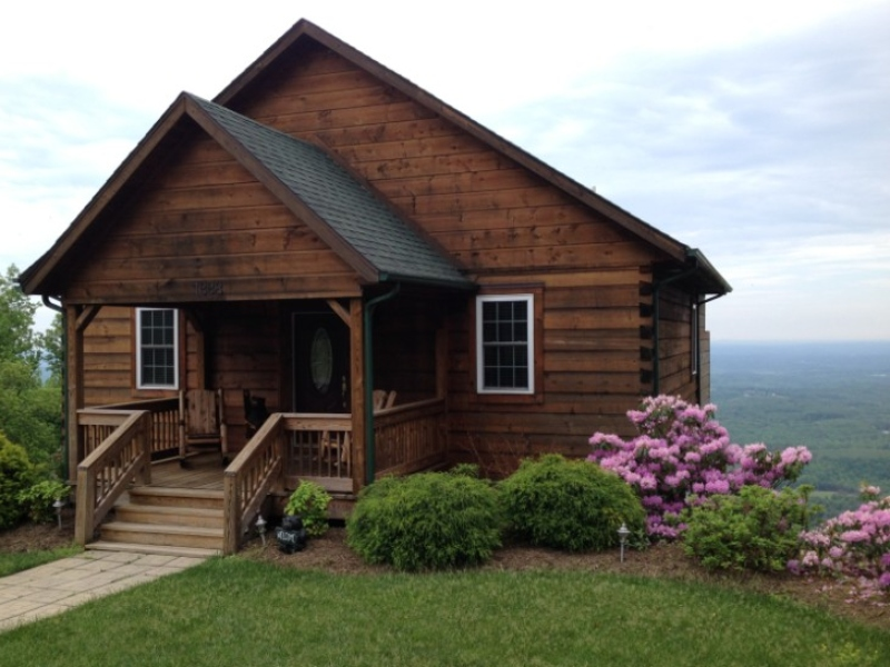 Front View of Cabin with NC/VA Piedmont in Background