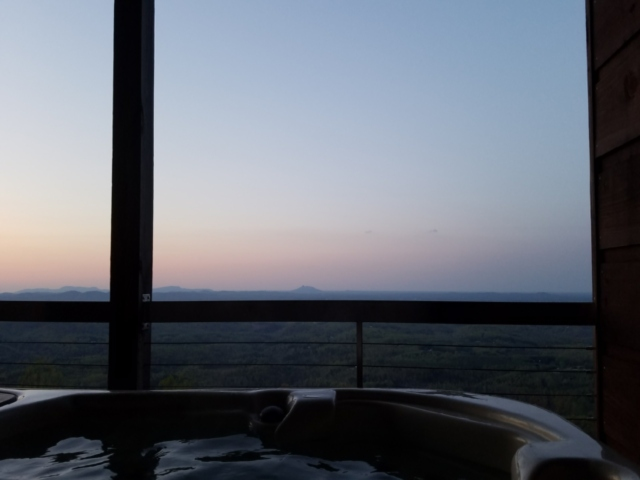 Sunrise View of Pilot's Perch from Hot Tub