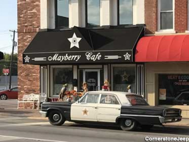 Mayberry AKA Mt. Airy, NC Diner -- Barney's Police Car Out Front!