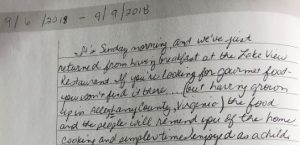 Pilots Perch Guest Book Snippet - Lakeview Diner