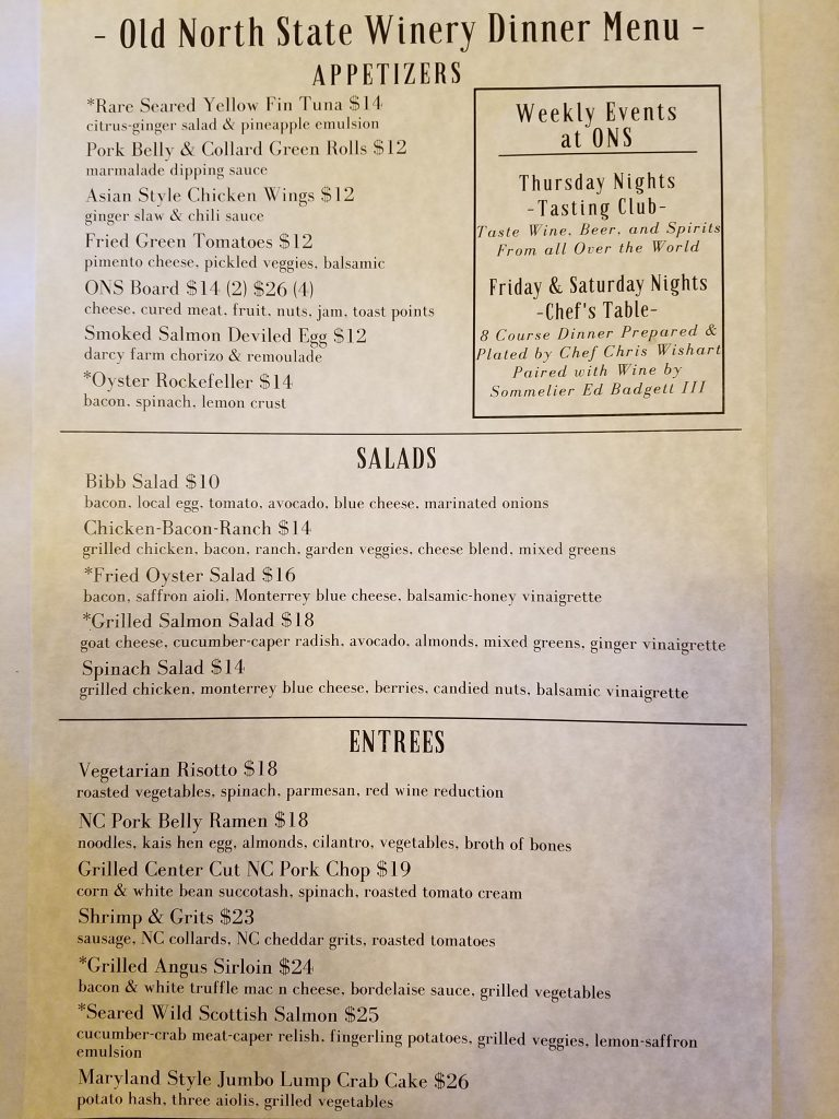 Old North State Winery - Dinner Menu